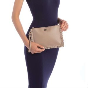 Michael Kors Scalloped leather Clutch in truffle